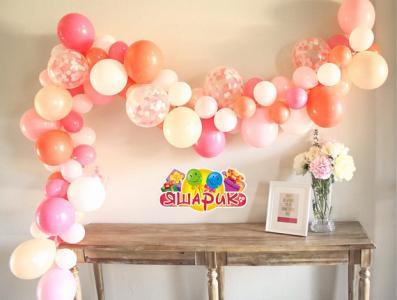 Гирлянда из воздушных шариков Organic confetti with flowers