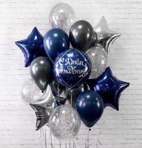 Сет мужской из воздушных шаров с днем рождения.
