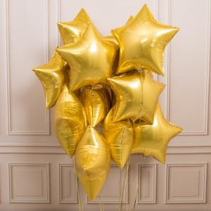 Букет из золотых воздушных звезд MIX