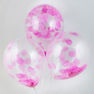 Воздушный шар конфетти розовое