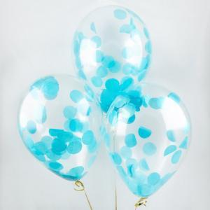Воздушный шар конфетти голубое