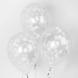 Воздушный шар конфетти белый