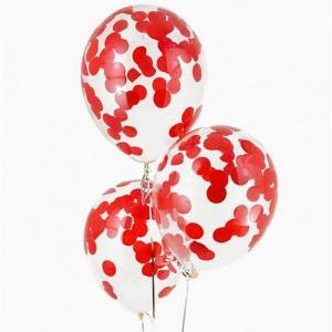 Воздушный шар конфетти красный