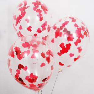 Воздушный шар конфетти сердца красные
