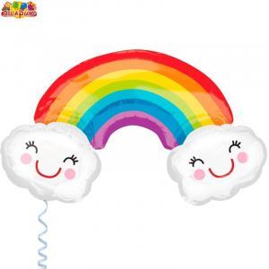 Воздушный шар с гелием Радуга с облаками.
