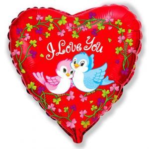 Воздушный шар c гелием Птички Я тебя люблю.