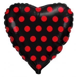 Воздушный шар c гелием Красный горох на чёрном.