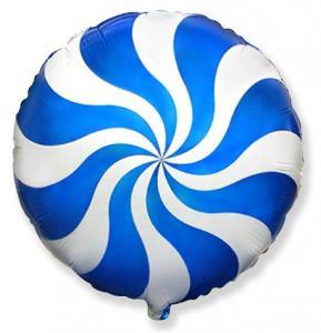Воздушный шар c гелием Карамель голубая.