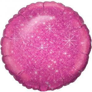 Воздушный шар Круг Блестящий Ярко-розовый.