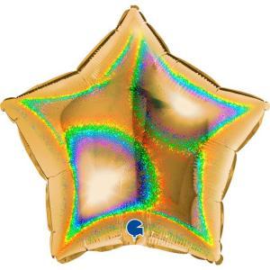 Воздушный шар Звезда Золото Голография.