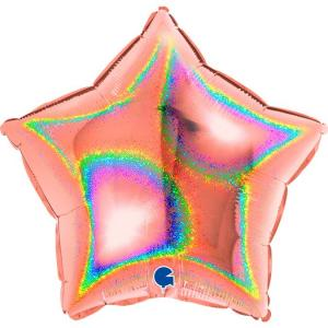Воздушный шар Звезда Розовое золото Голография.