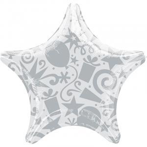 Воздушный шар Звезда Шары и Подарки Серебро.