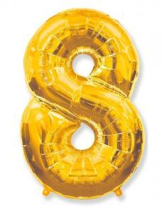 Воздушный шар c гелием Цифра 8 золотая.