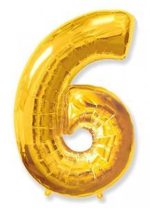 Воздушный шар c гелием Цифра 6 золотая.