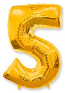 Воздушный шар c гелием Цифра 5 золотая.