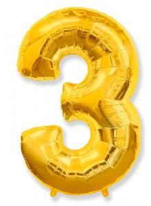 Воздушный шар c гелием Цифра 3 золотая.