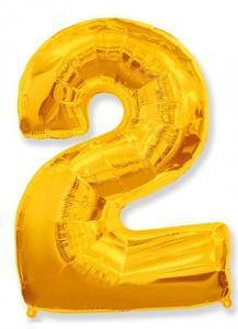 Воздушный шар c гелием Цифра 2 золотая.
