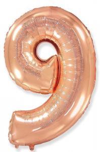 Воздушный шар c гелием Цифра 9 Роза Голд.