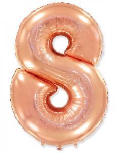 Воздушный шар c гелием Цифра 8 Роза Голд.