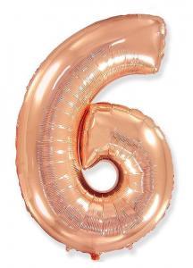 Воздушный шар c гелием Цифра 6 Роза Голд.