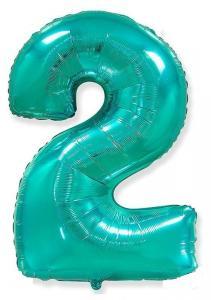 Воздушный шар c гелием Цифра 2 Тиффани.