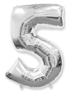 Воздушный шар c гелием Цифра  Серебро.