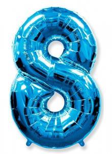 """Воздушный шар c гелием """" Цифра 8 синяя """""""