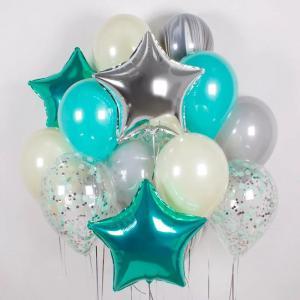 Букет из воздушных шаров Серебро Тиффани.