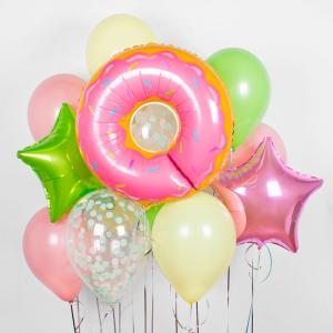 Букет из воздушных шаров Пончик с розовой глазурью.
