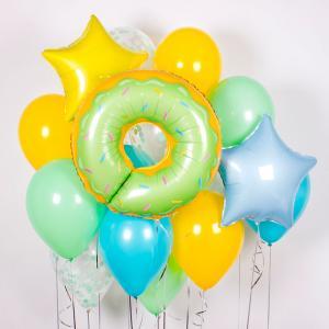 Букет из воздушных шаров Пончик с мятной глазурью.