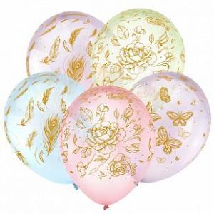 Воздушные шары Цветы и бабочки Золото.