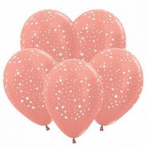 Воздушные шары Звезды Розовое Золото.