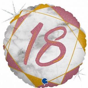 Воздушный шар c гелием Цифра 18 Мрамор Розовое золото.