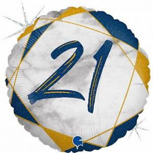 Воздушный шар c гелием Цифра 21 Мрамор Синий.